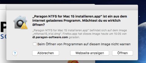 Paragon NTFS für Mac öffnen